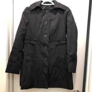 Women's Ruffle Black Trench Coat Size Petite S